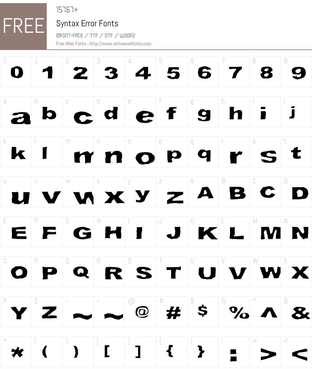 Syntax Error Font Screenshots