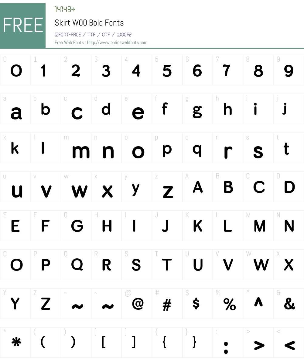 SkirtW00-Bold Font Screenshots