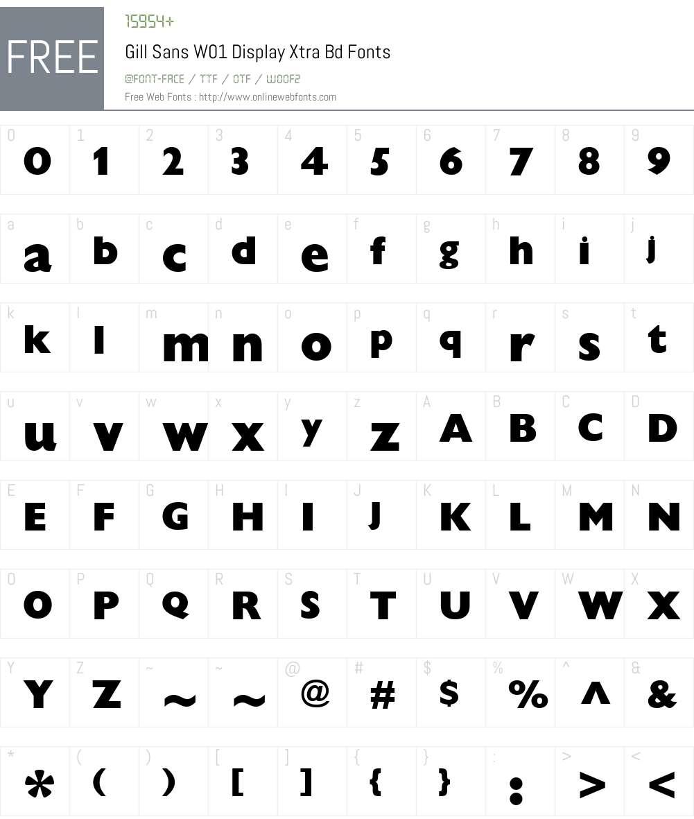 GillSansW01-DisplayXtraBd Font Screenshots