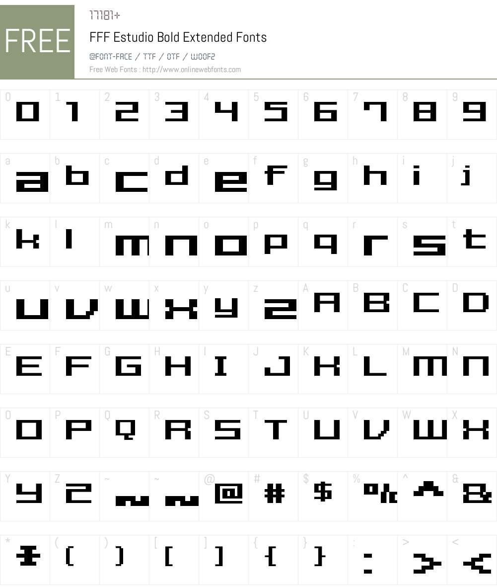 FFF Estudio Bold Extended Font Screenshots