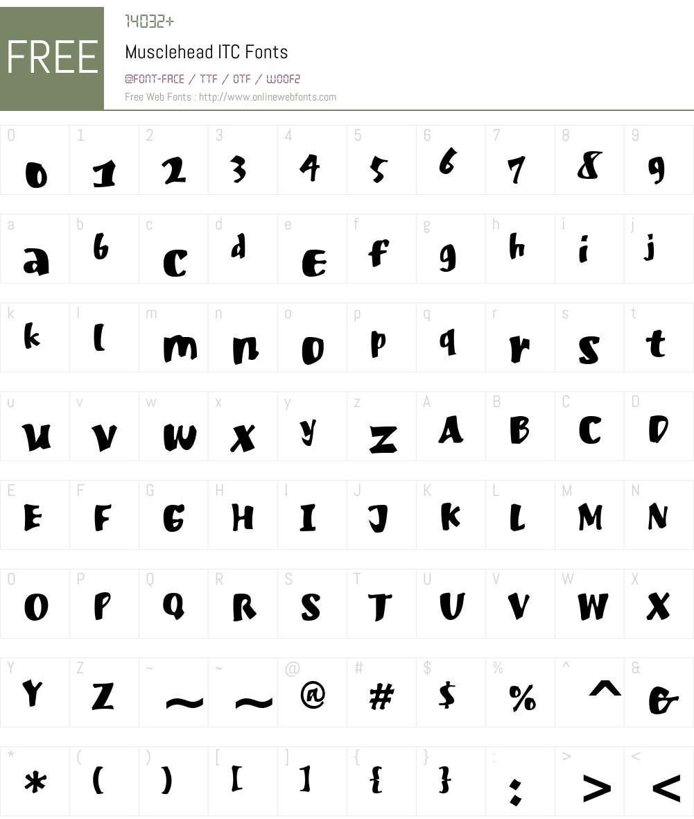 Musclehead ITC Font Screenshots