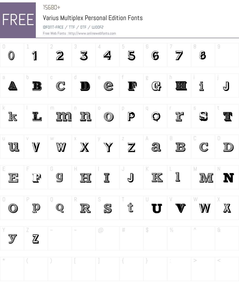Varius Multiplex Personal Edition Font Screenshots
