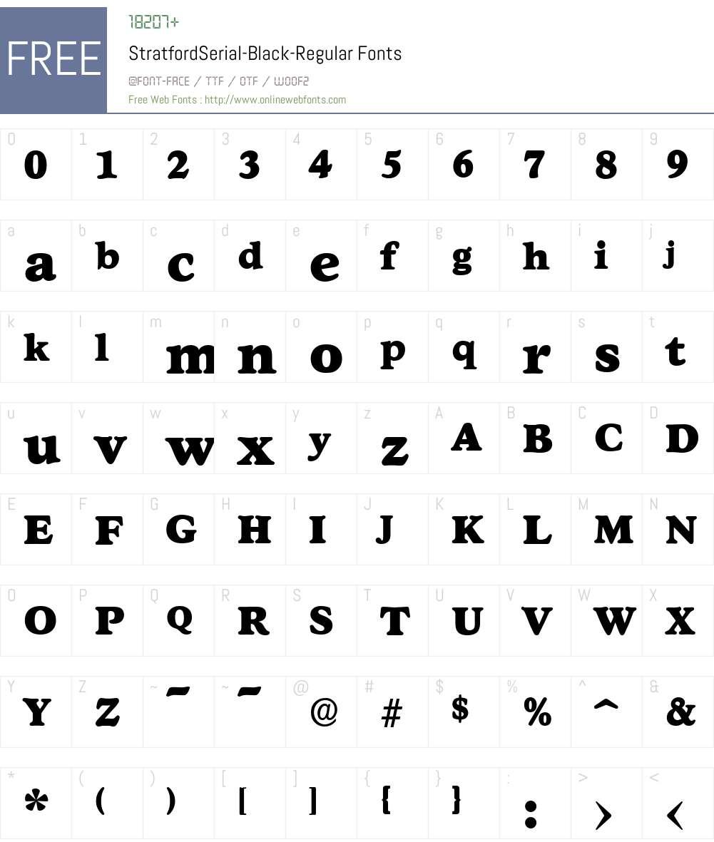 StratfordSerial-Black Font Screenshots