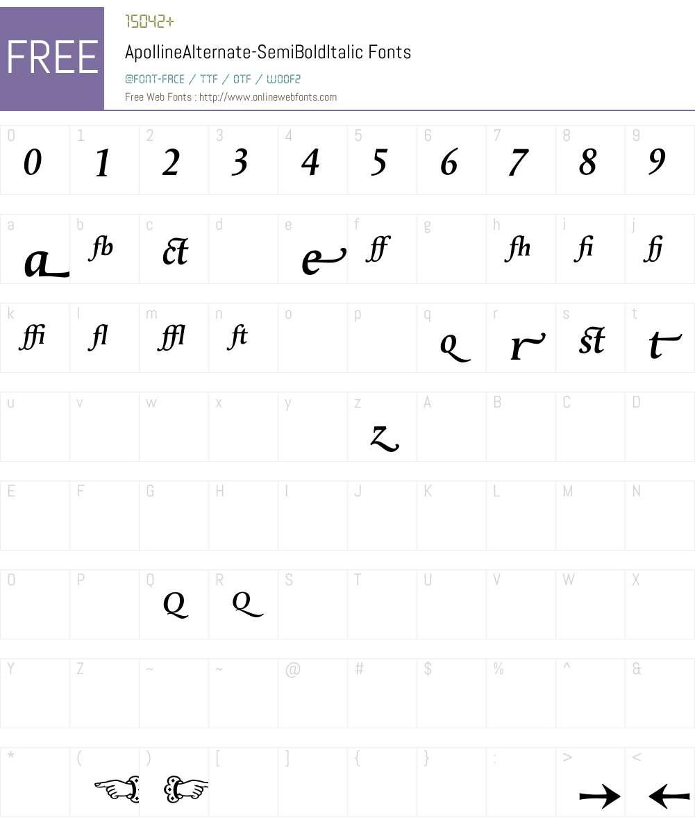 ApollineAlternate Font Screenshots