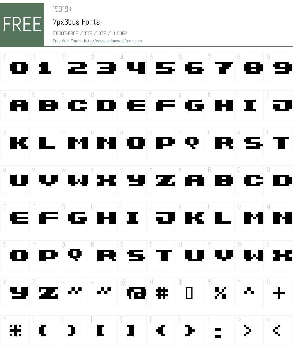 7px3bus Font Screenshots
