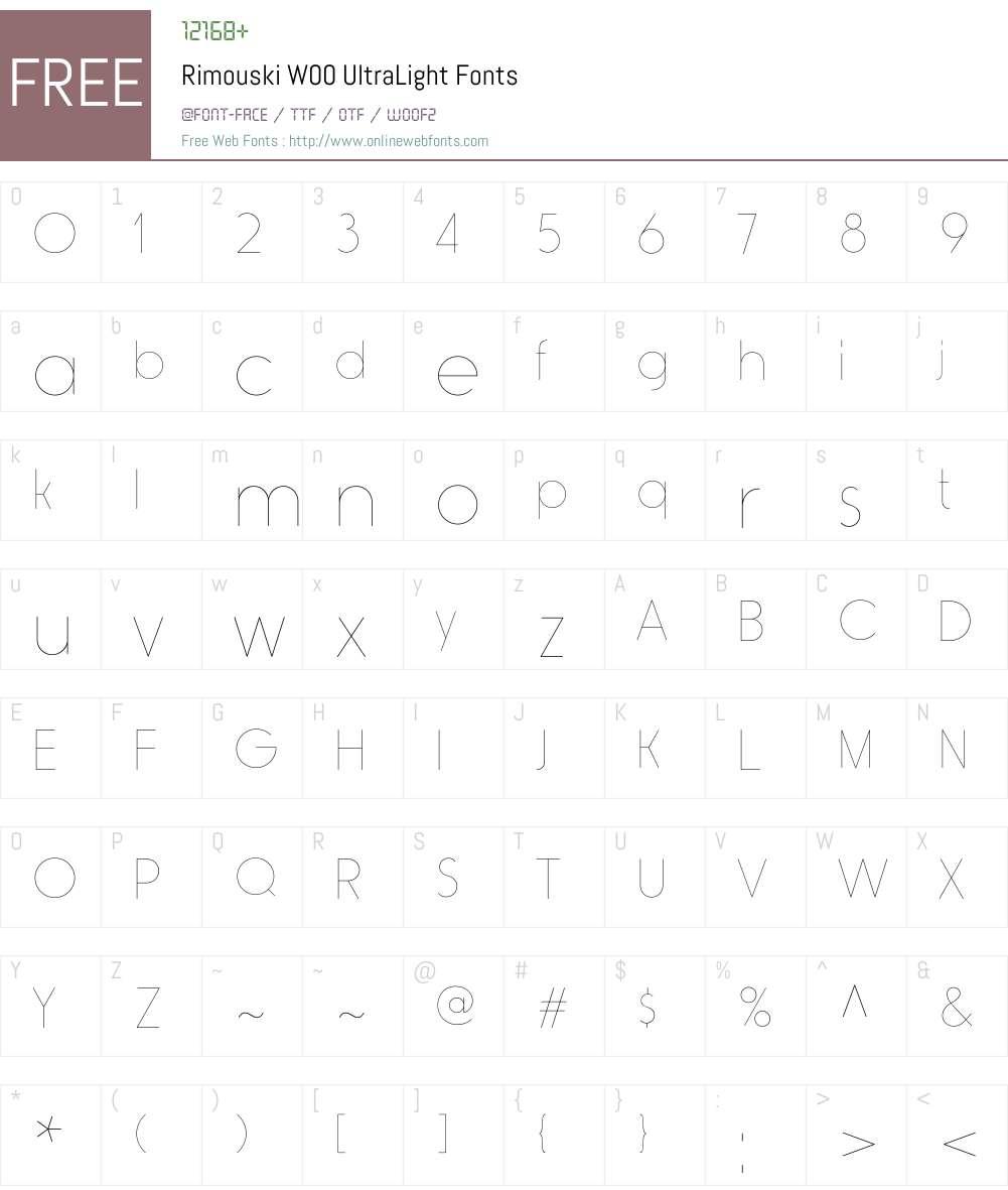 RimouskiW00-UltraLight Font Screenshots