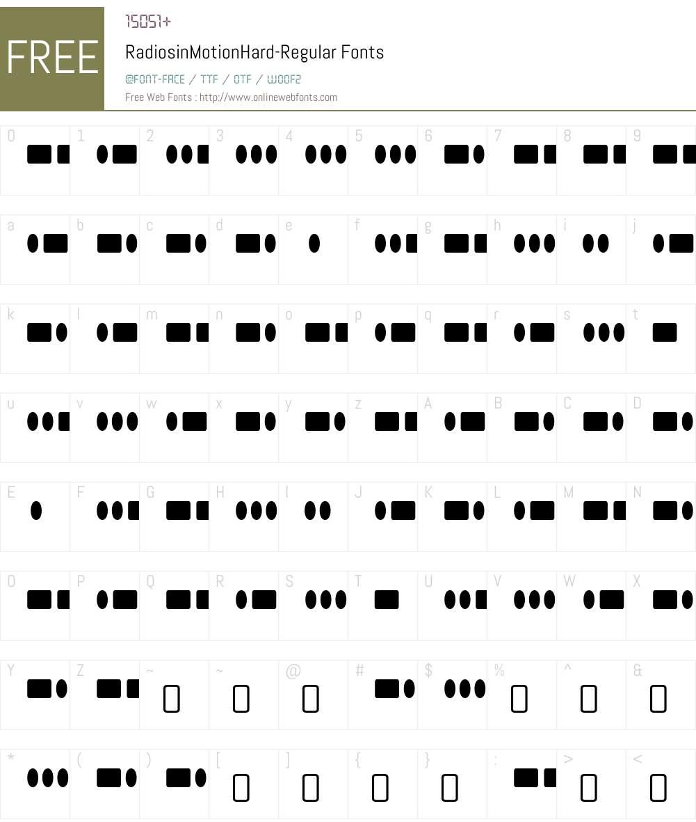 Radios in Motion Font Screenshots