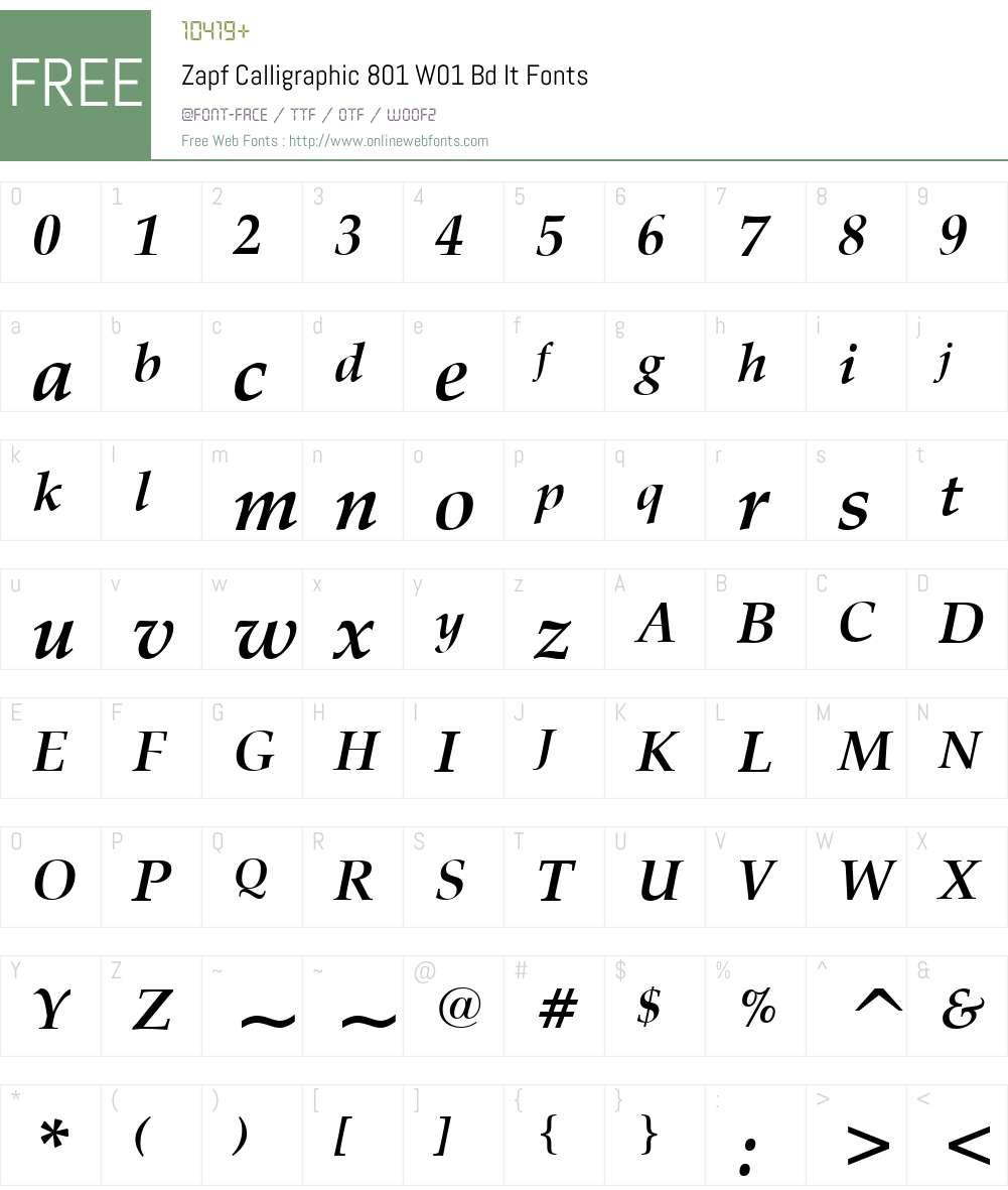 ZapfCalligraphic801W01-BdIt Font Screenshots