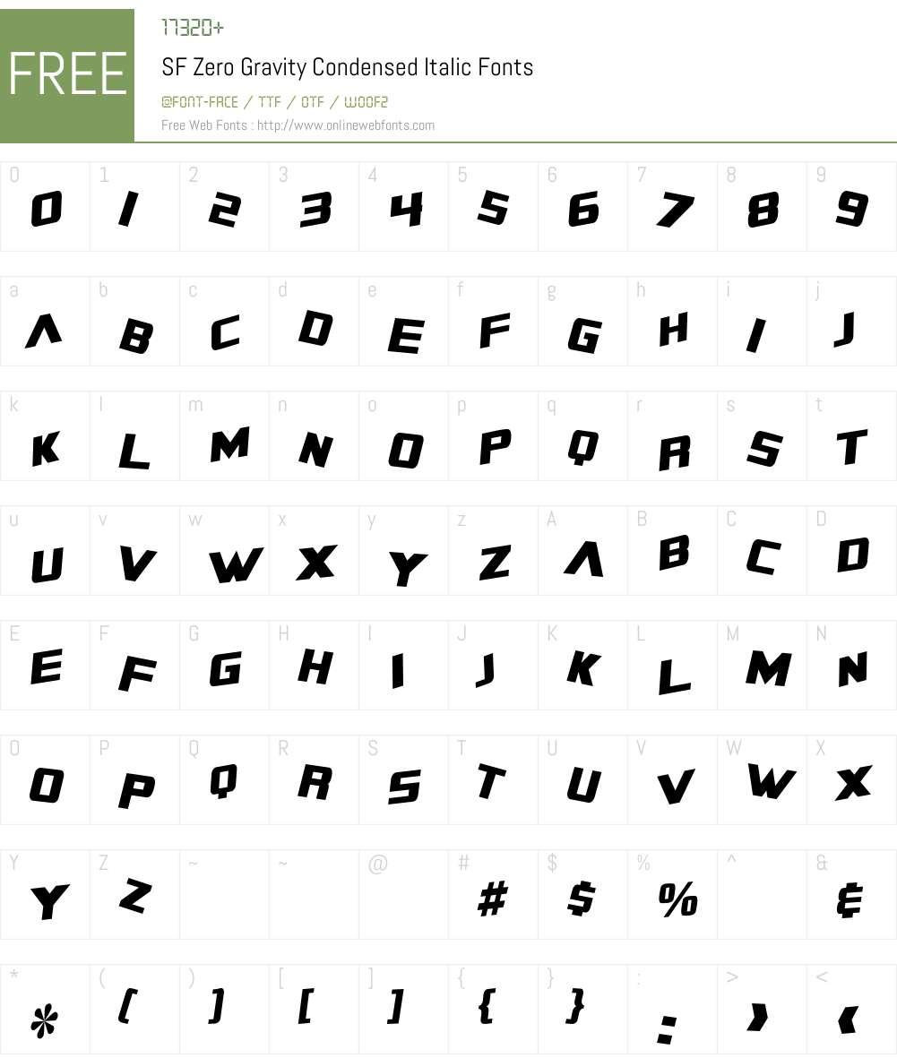 SF Zero Gravity Condensed Font Screenshots