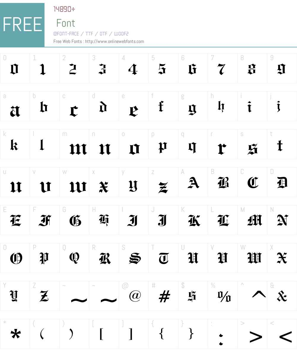 Engravers' Old English BT Font Screenshots
