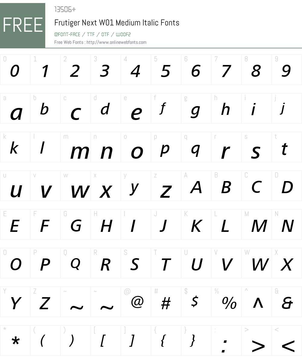 FrutigerNextW01-MediumIt Font Screenshots