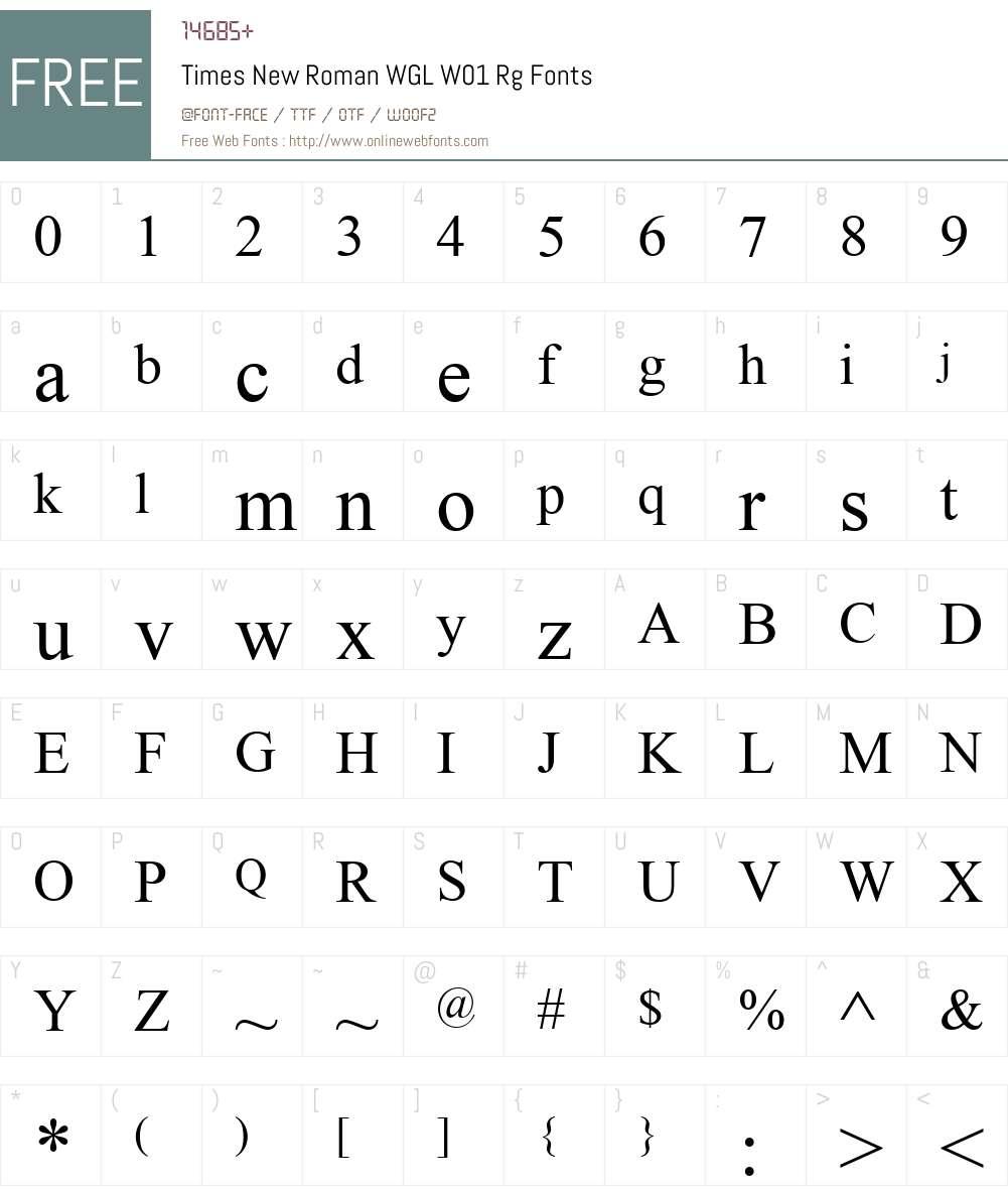 TimesNewRomanWGLW01-Regular Font Screenshots