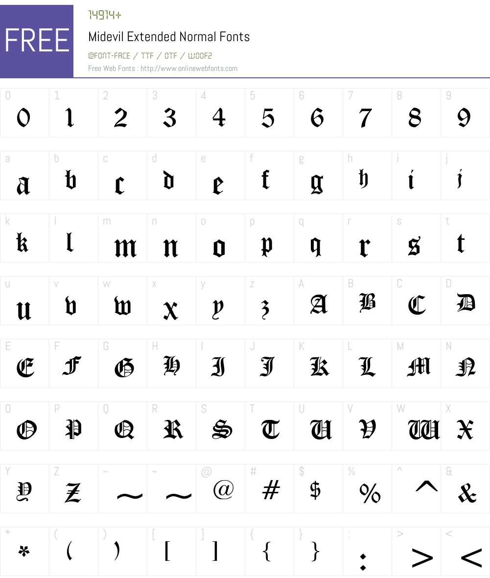 Midevil Extended Font Screenshots