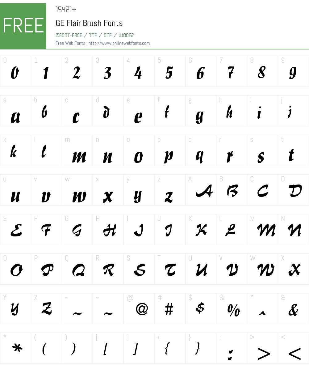 GE Flair Brush Font Screenshots
