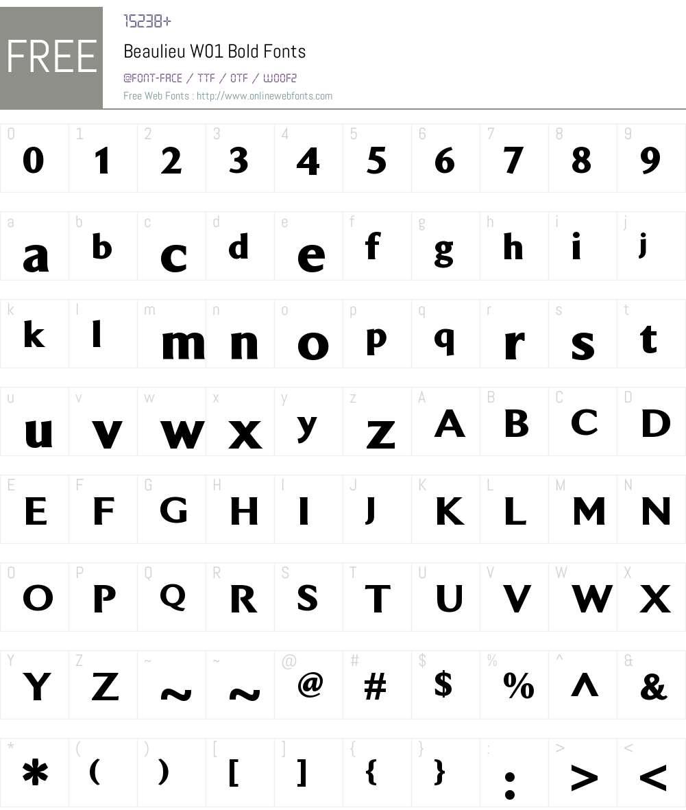 BeaulieuW01-Bold Font Screenshots