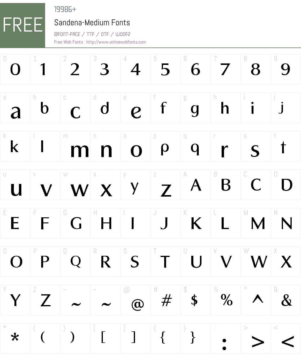 Sandena Medium Font Screenshots