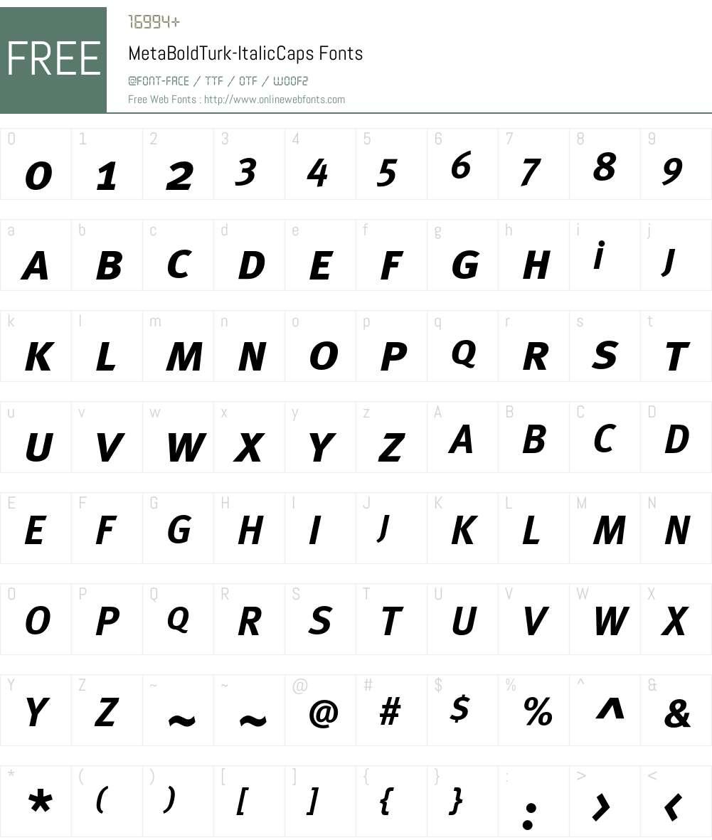 MetaBoldTurk Font Screenshots