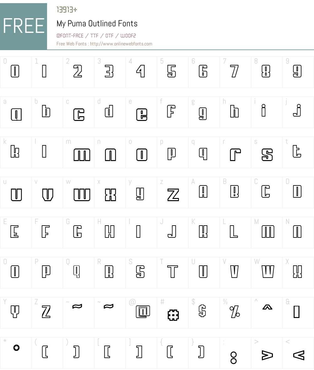 My Puma Outlined Font Screenshots