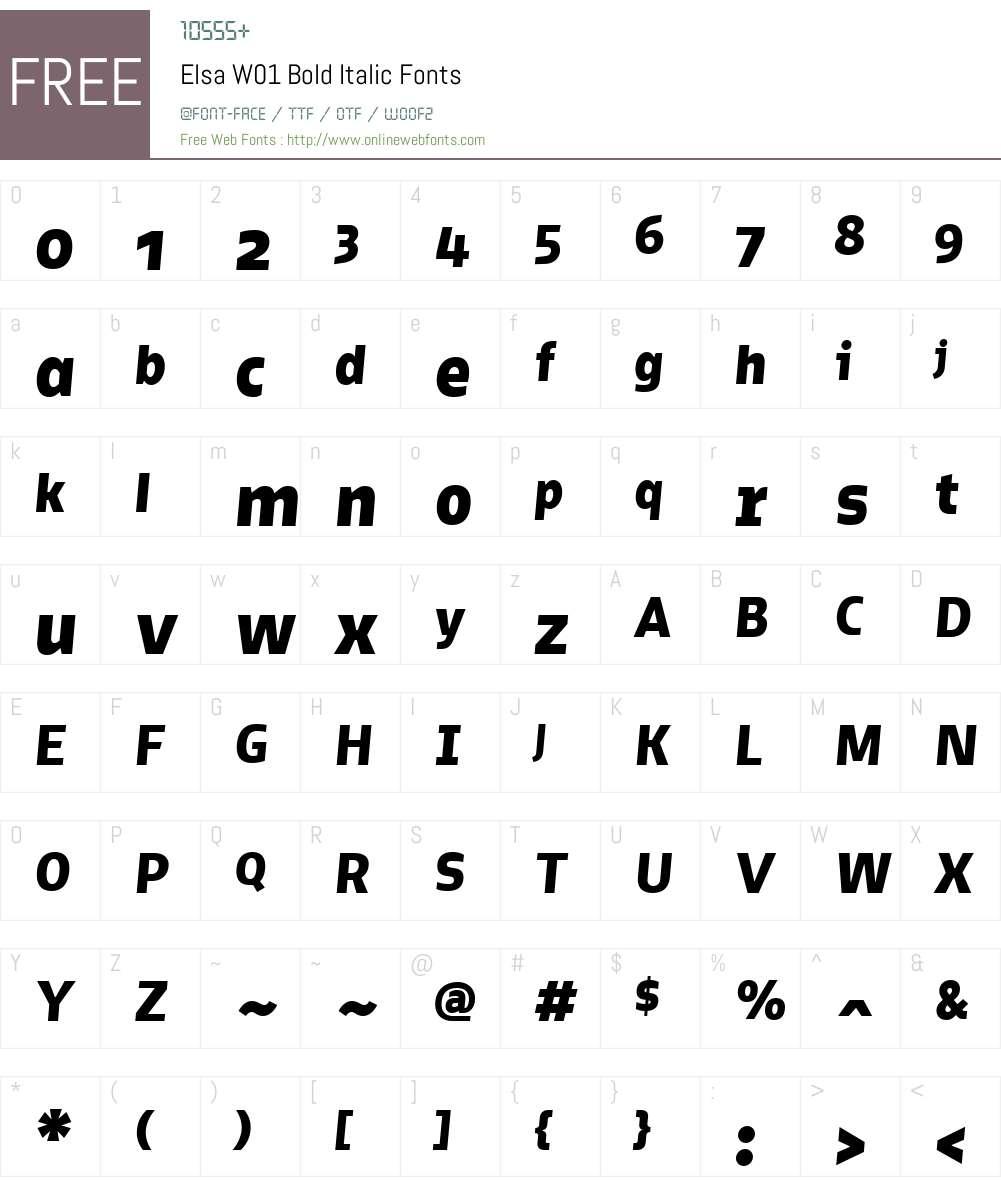 ElsaW01-BoldItalic Font Screenshots
