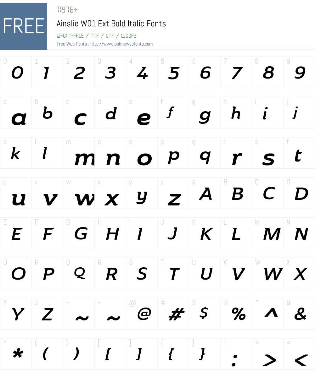 AinslieW01-ExtBoldItalic Font Screenshots