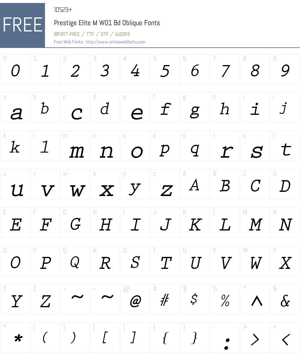 PrestigeEliteMW01-BdOblique Font Screenshots