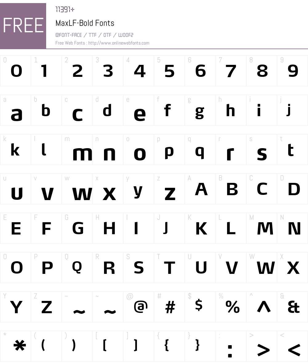 MaxLF-Bold Font Screenshots