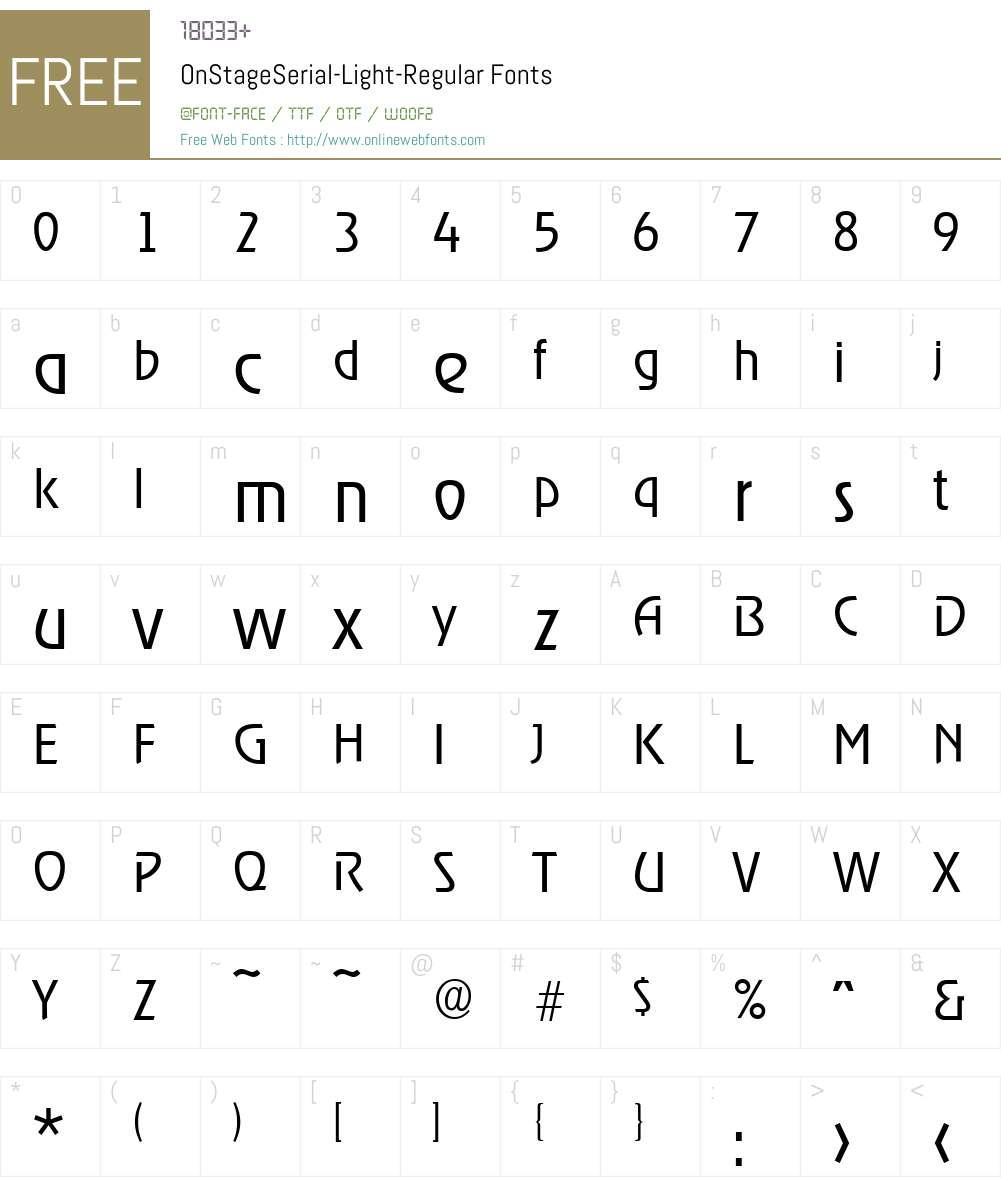 OnStageSerial-Light Font Screenshots