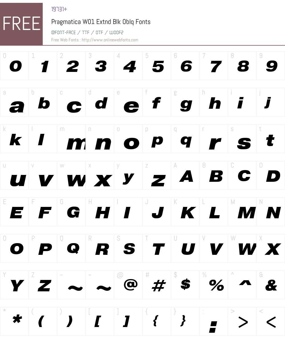 PragmaticaW01-ExtndBlkOblq Font Screenshots