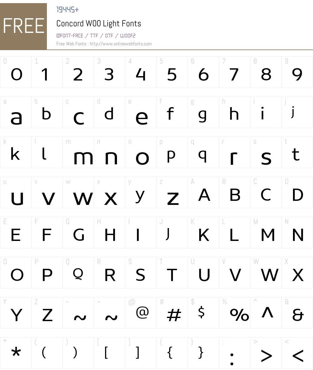 ConcordW00-Light Font Screenshots