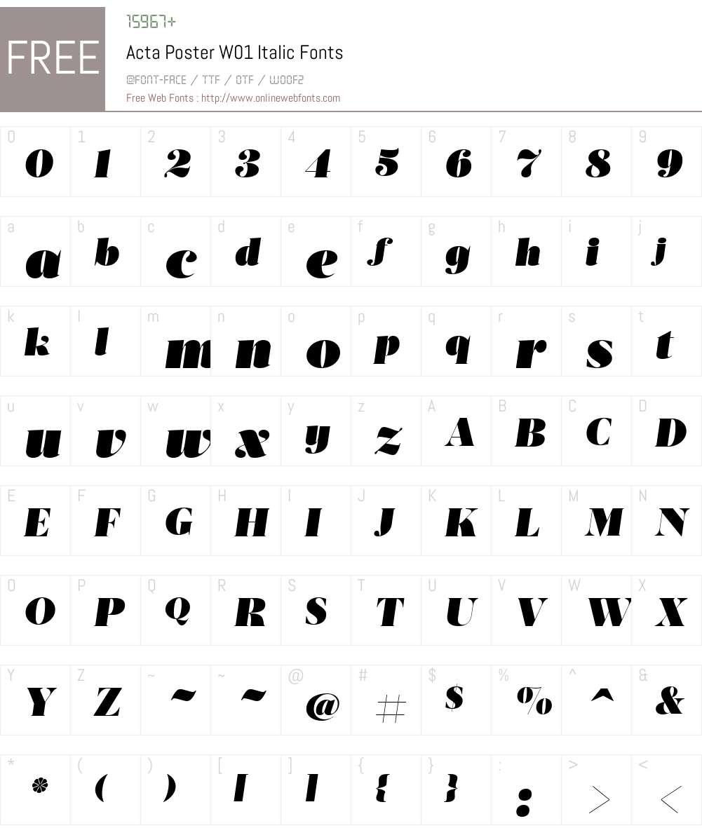 ActaPosterW01-Italic Font Screenshots