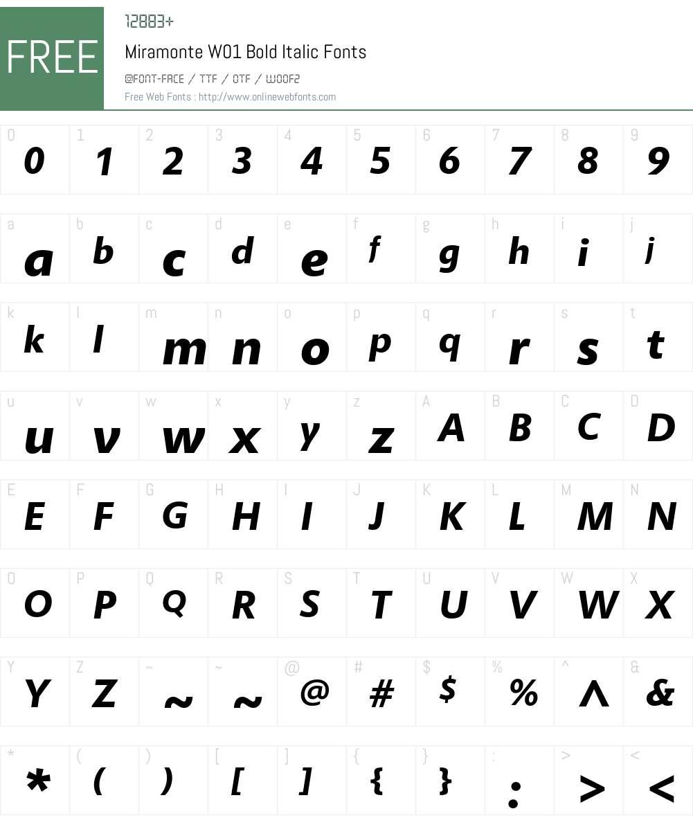 MiramonteW01-BoldItalic Font Screenshots