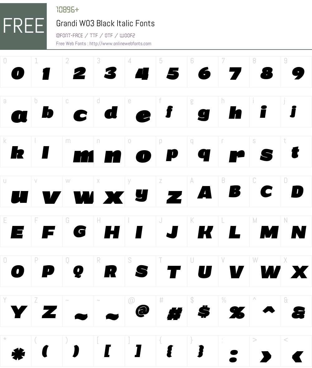 Grandi Font Screenshots