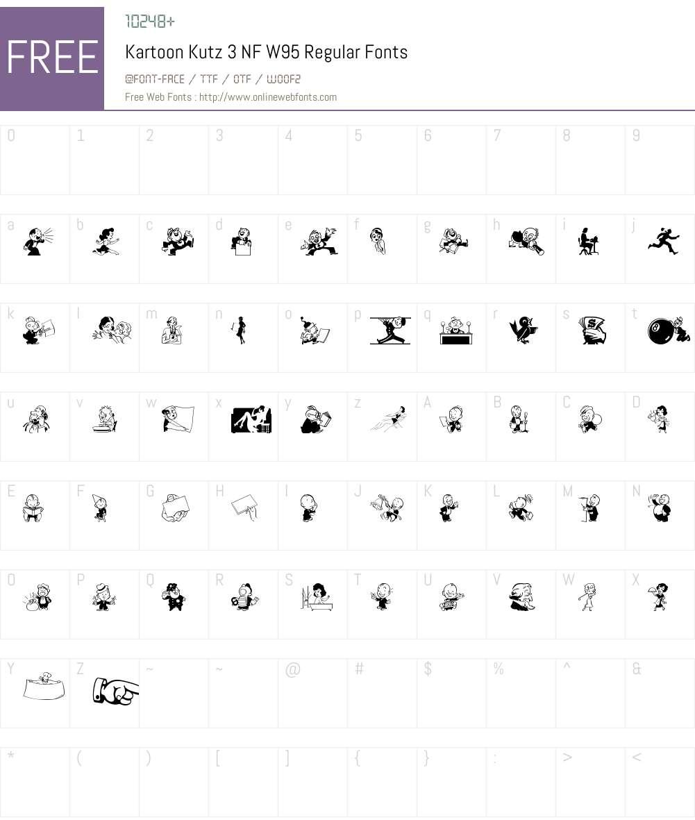 KartoonKutz3NFW95-Regular Font Screenshots