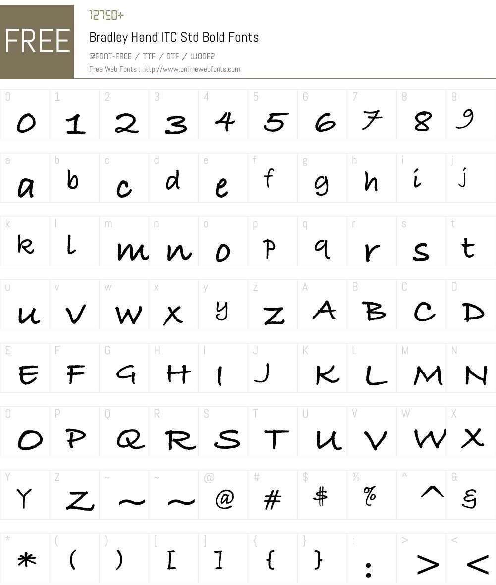 Bradley Hand ITC Std Font Screenshots