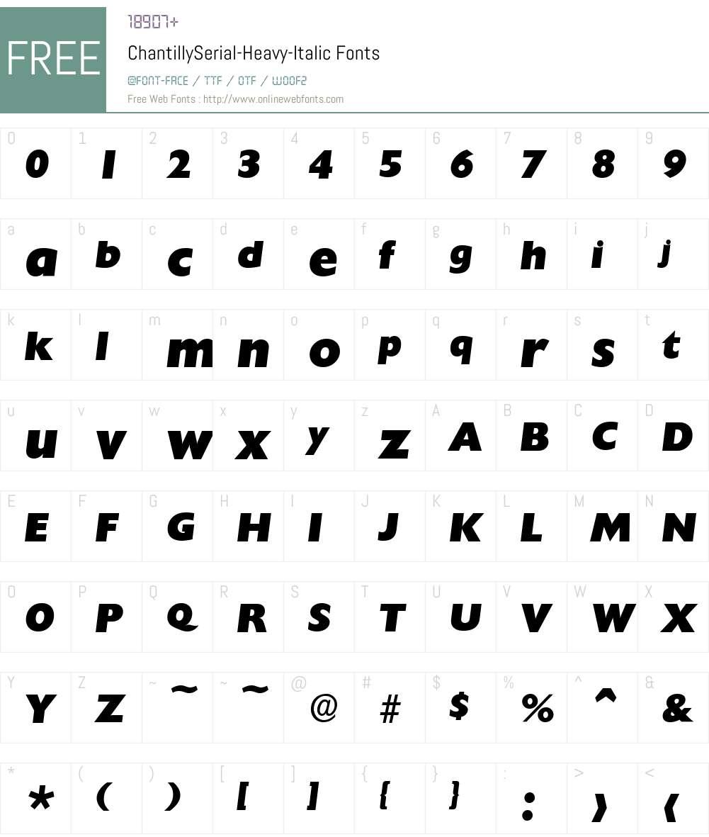 ChantillySerial-Heavy Font Screenshots