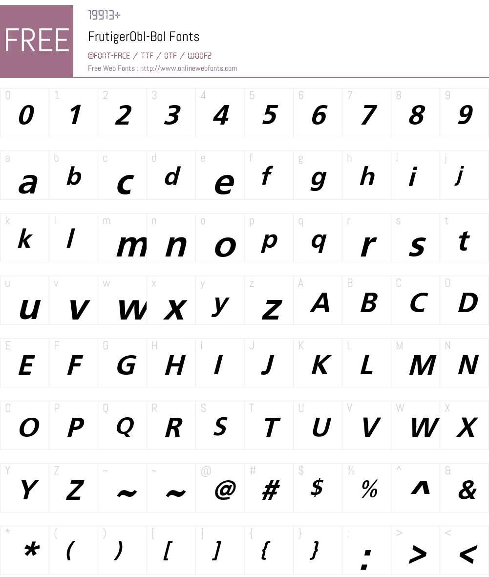 FrutigerObl-Bol Font Screenshots