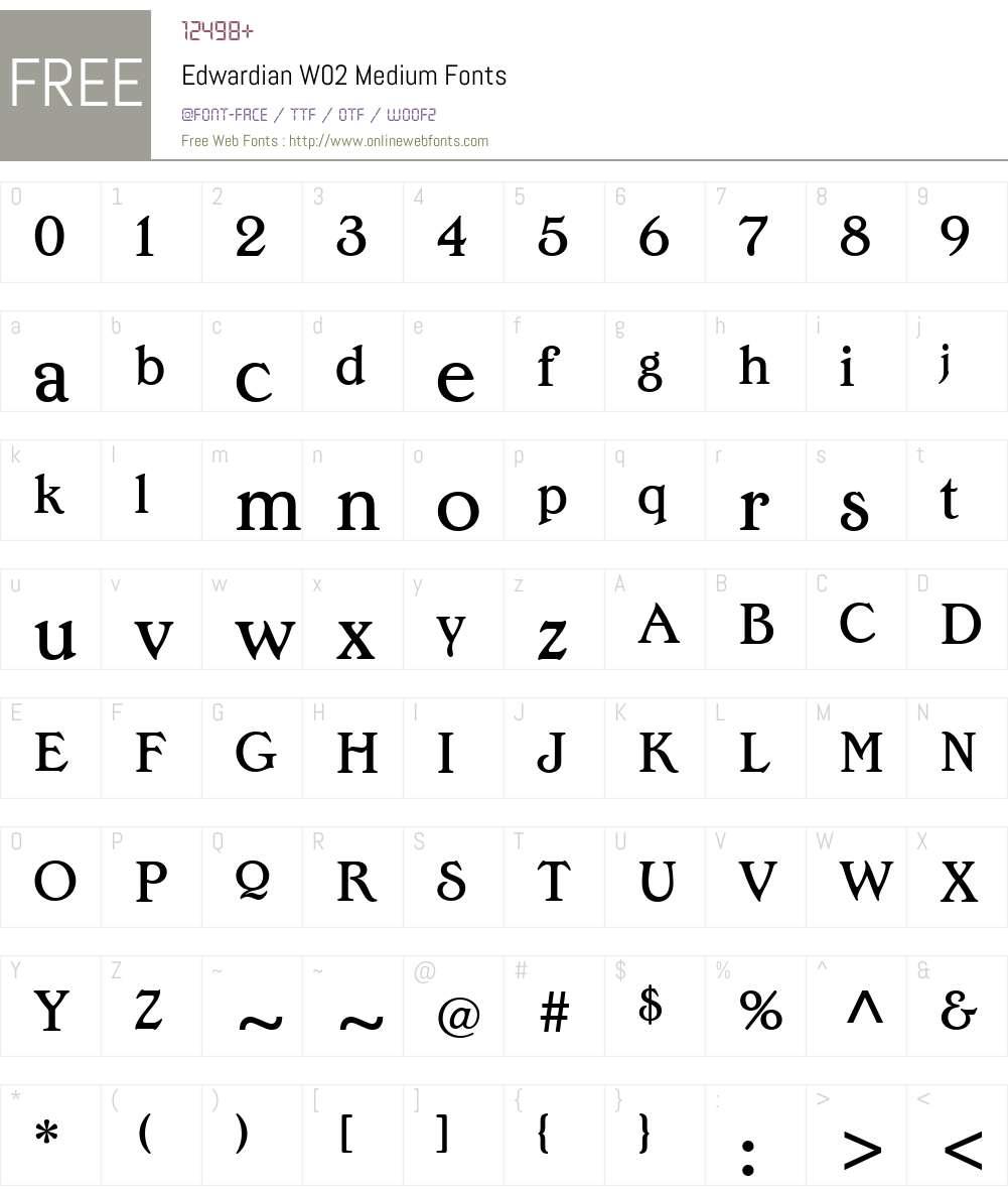 EdwardianW02-Medium Font Screenshots