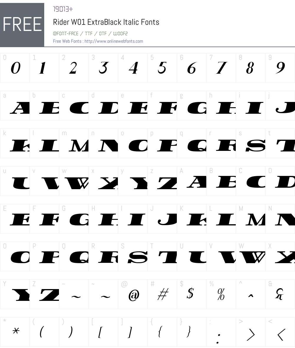 RiderW01-ExtraBlackItalic Font Screenshots