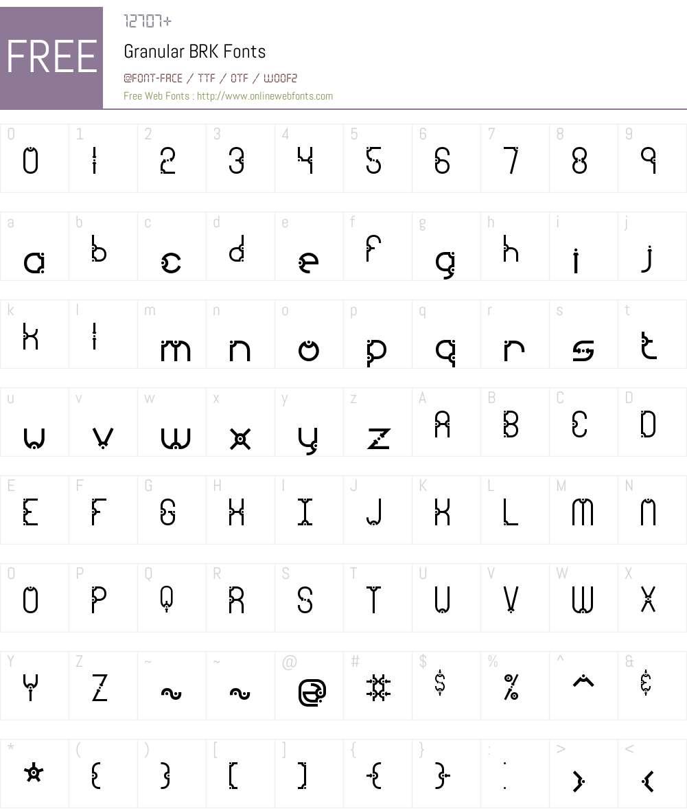 Granular BRK Font Screenshots