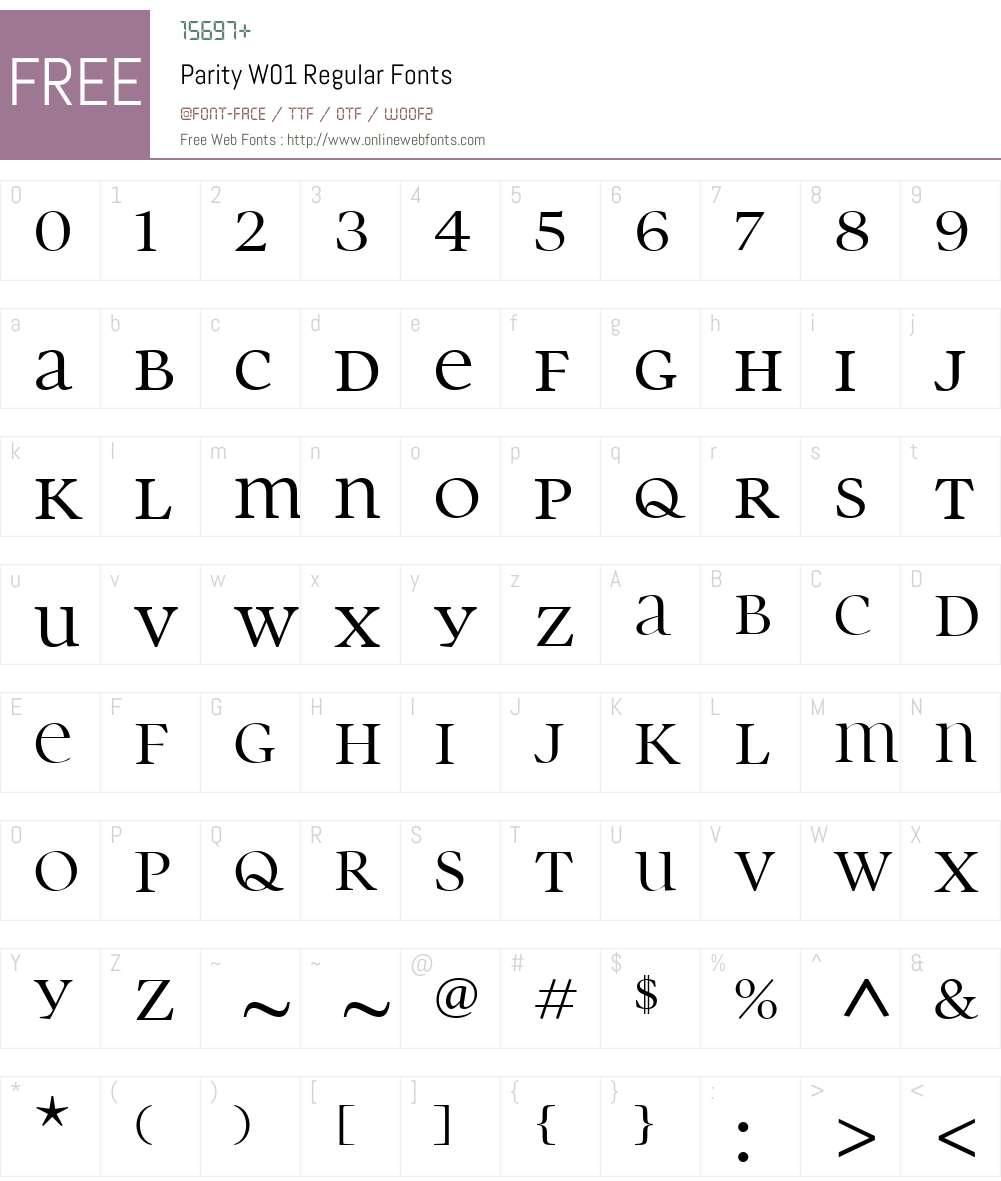 ParityW01-Regular Font Screenshots