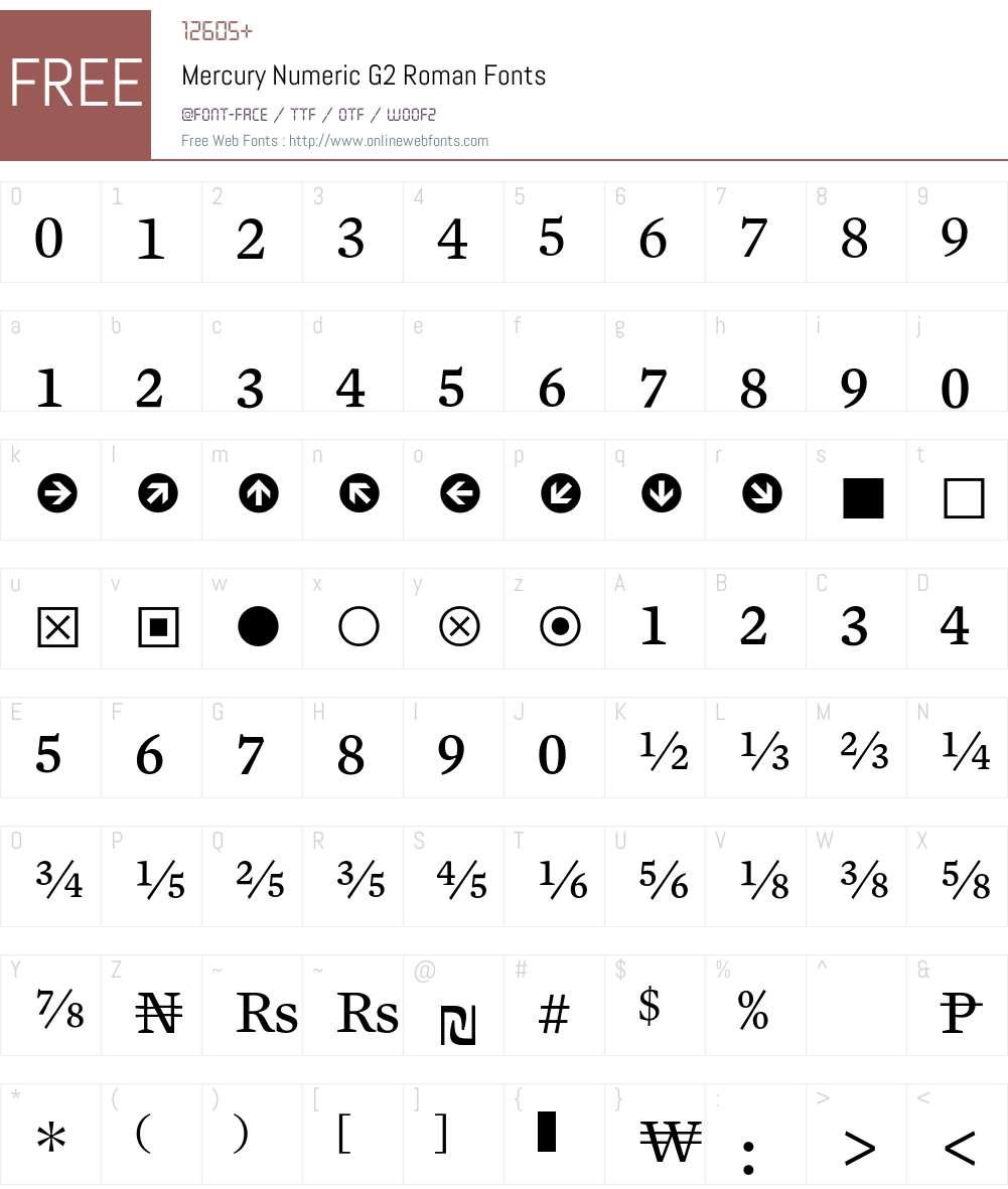 Mercury Numeric G2 Font Screenshots