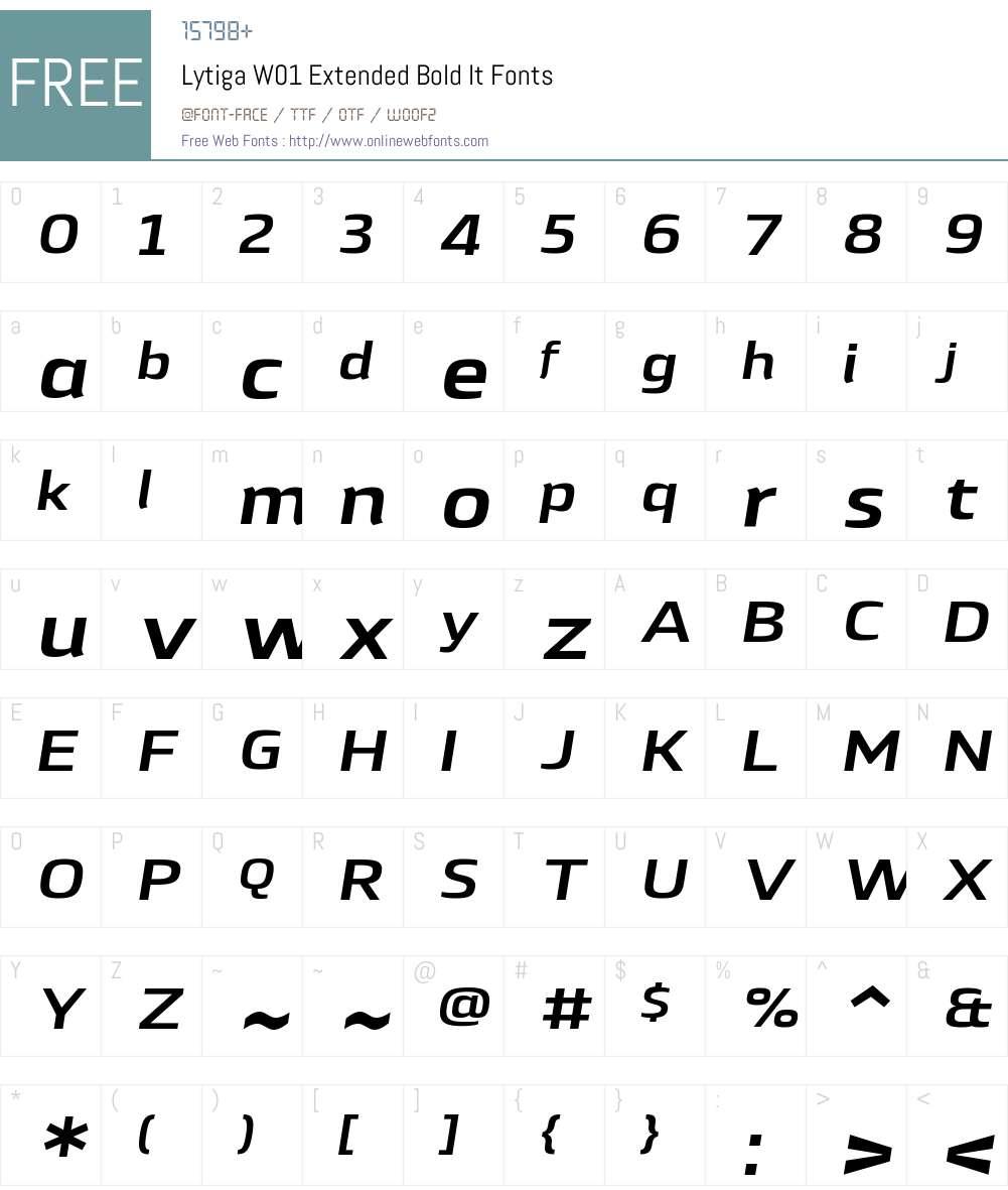 LytigaW01-ExtendedBoldIt Font Screenshots