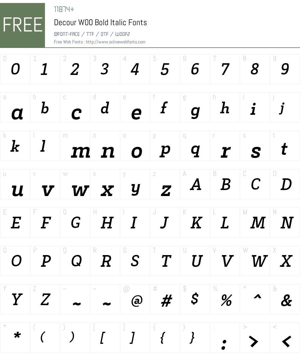 DecourW00-BoldItalic Font Screenshots