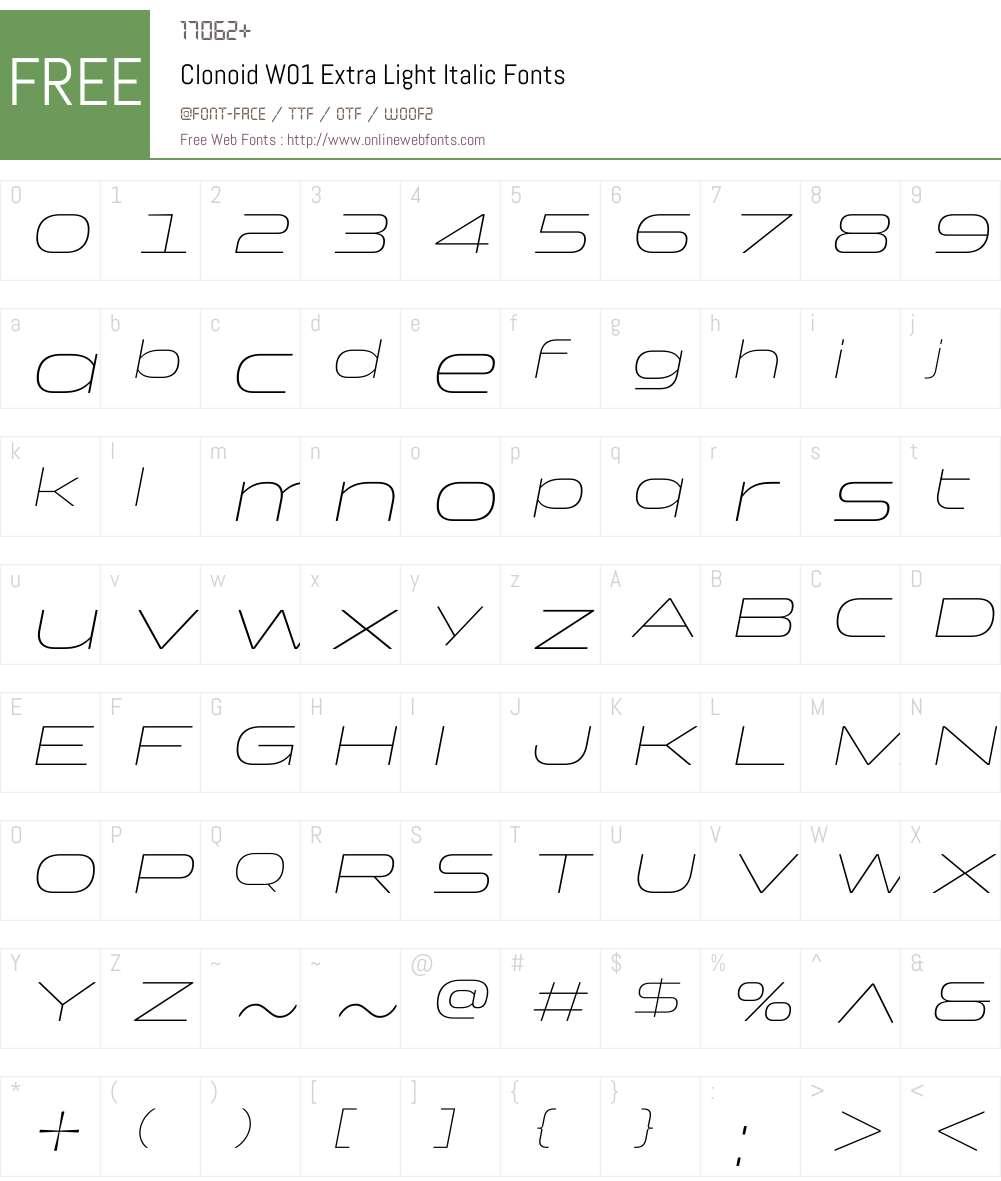 ClonoidW01-ExtraLightItalic Font Screenshots