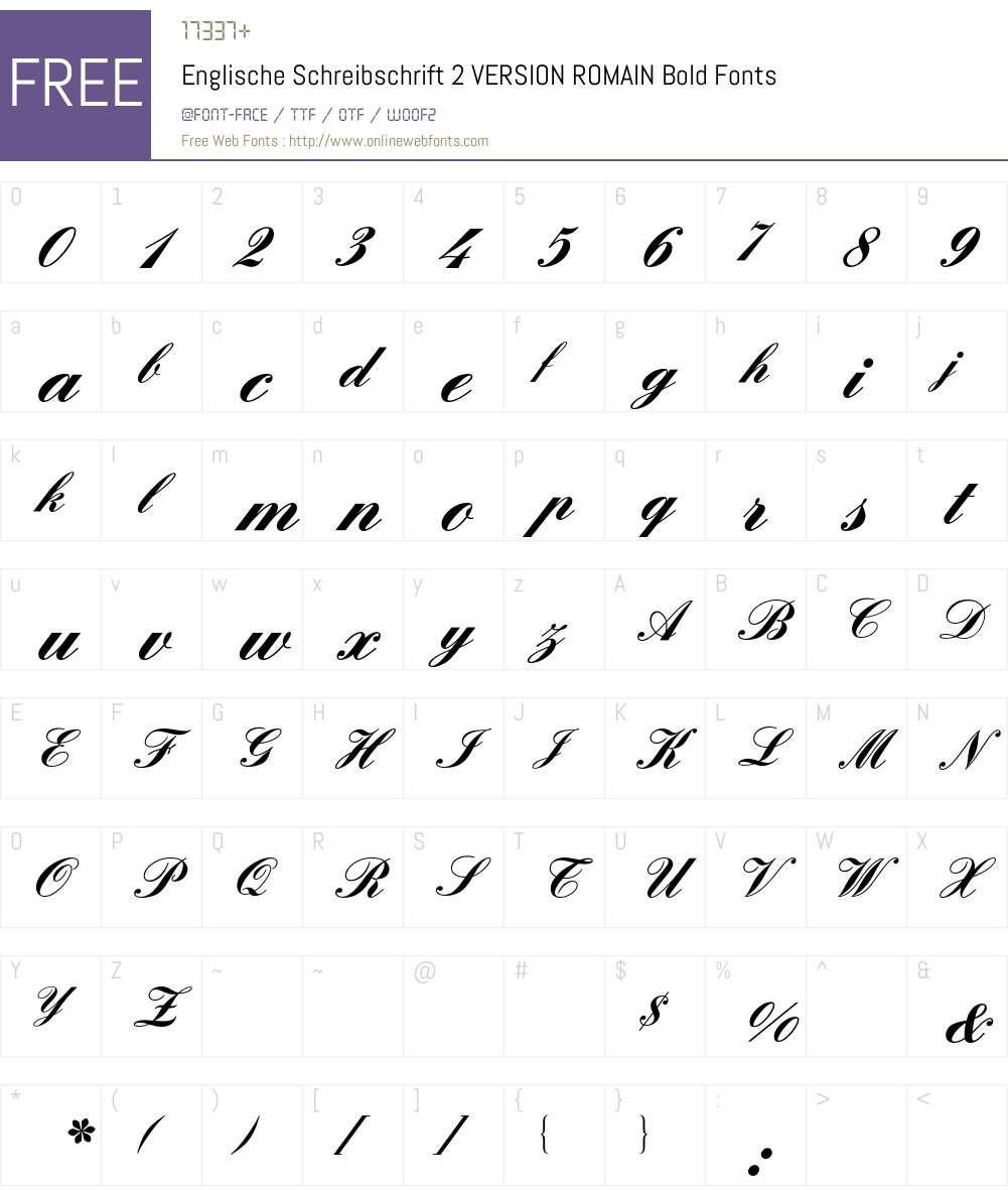 Englische Schreibschrift 2 BQ Font Screenshots