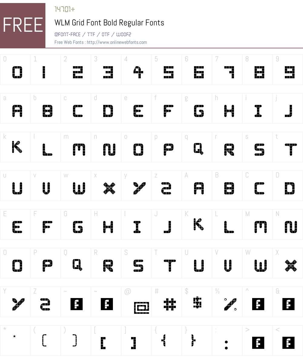 WLM Grid Font Bold Font Screenshots