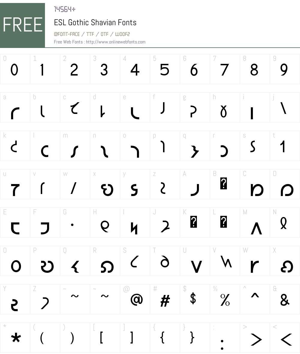ESL Gothic Shavian Font Screenshots
