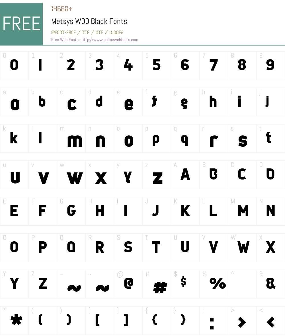 Metsys Font Screenshots