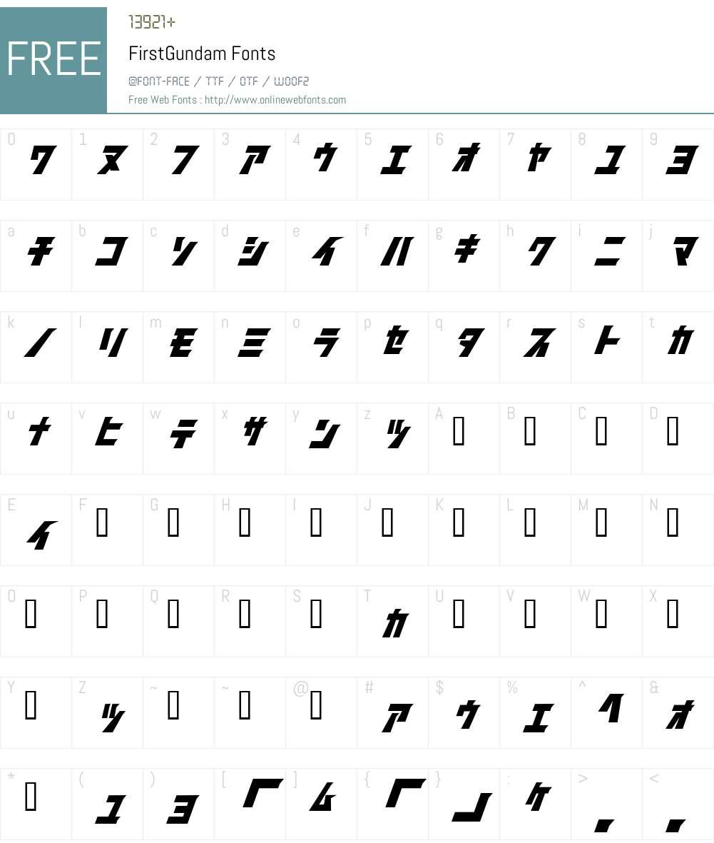 FirstGundam Font Screenshots