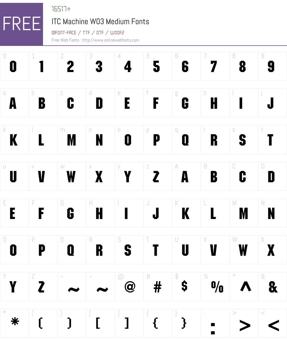 ITCMachineW03-Medium Font Screenshots
